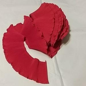 Red pleated ruffle trim